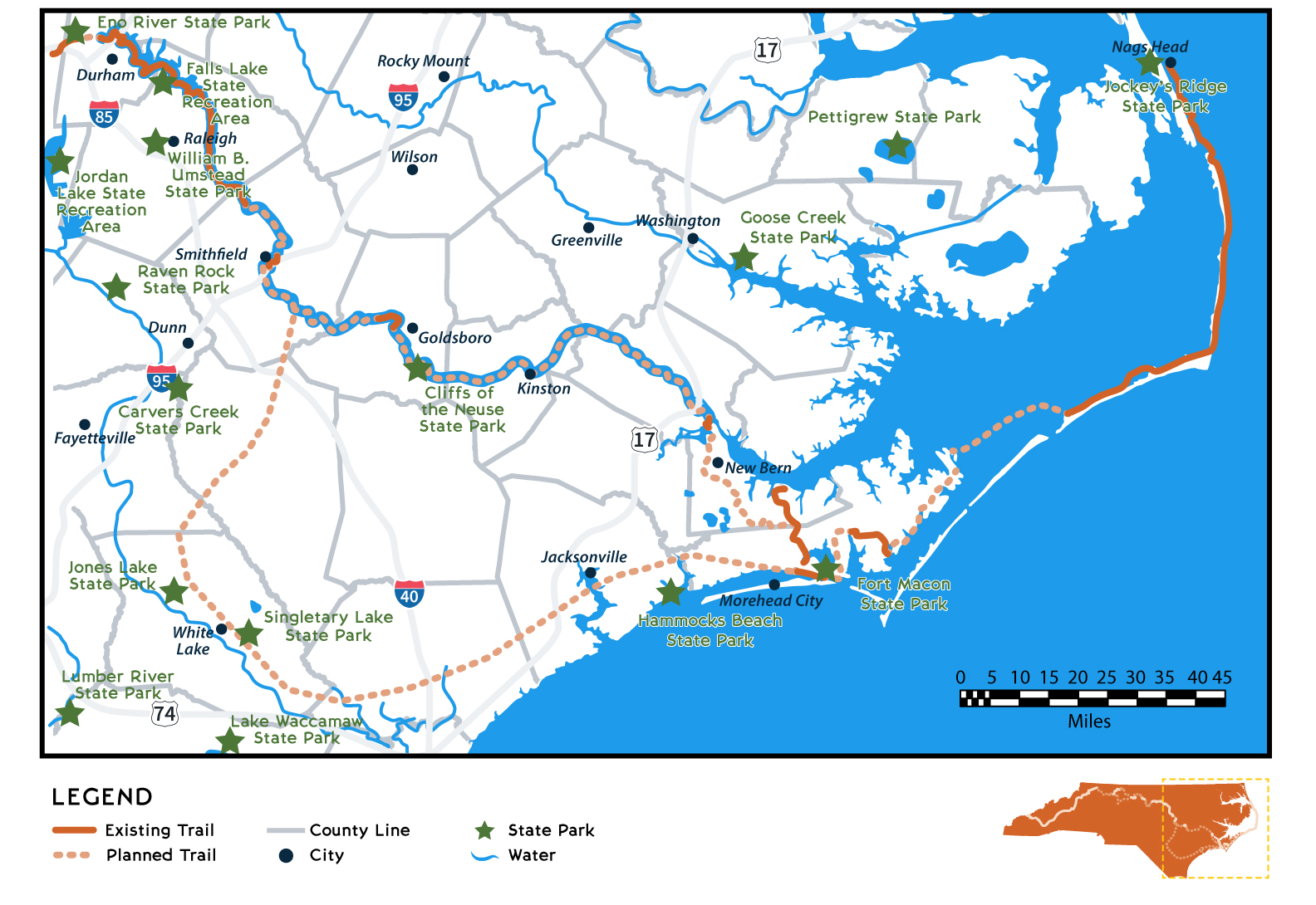 Map of Mountains-to-Sea State Trail Coastal Region