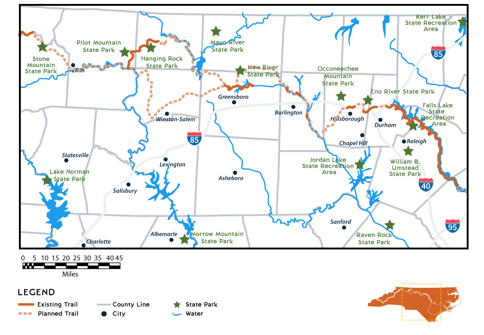 Map of Mountains-to-Sea State Trail Piedmont Region