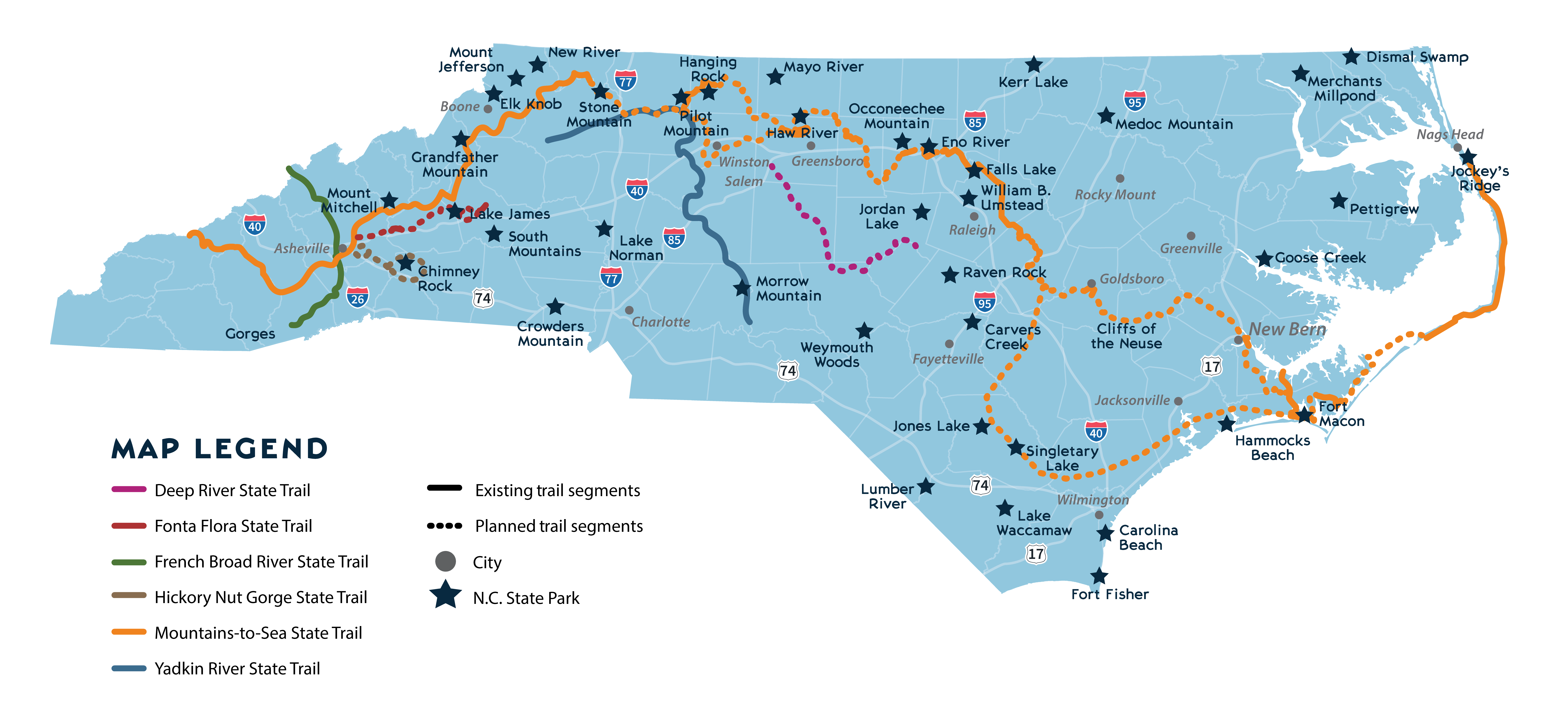 NC state parks system map