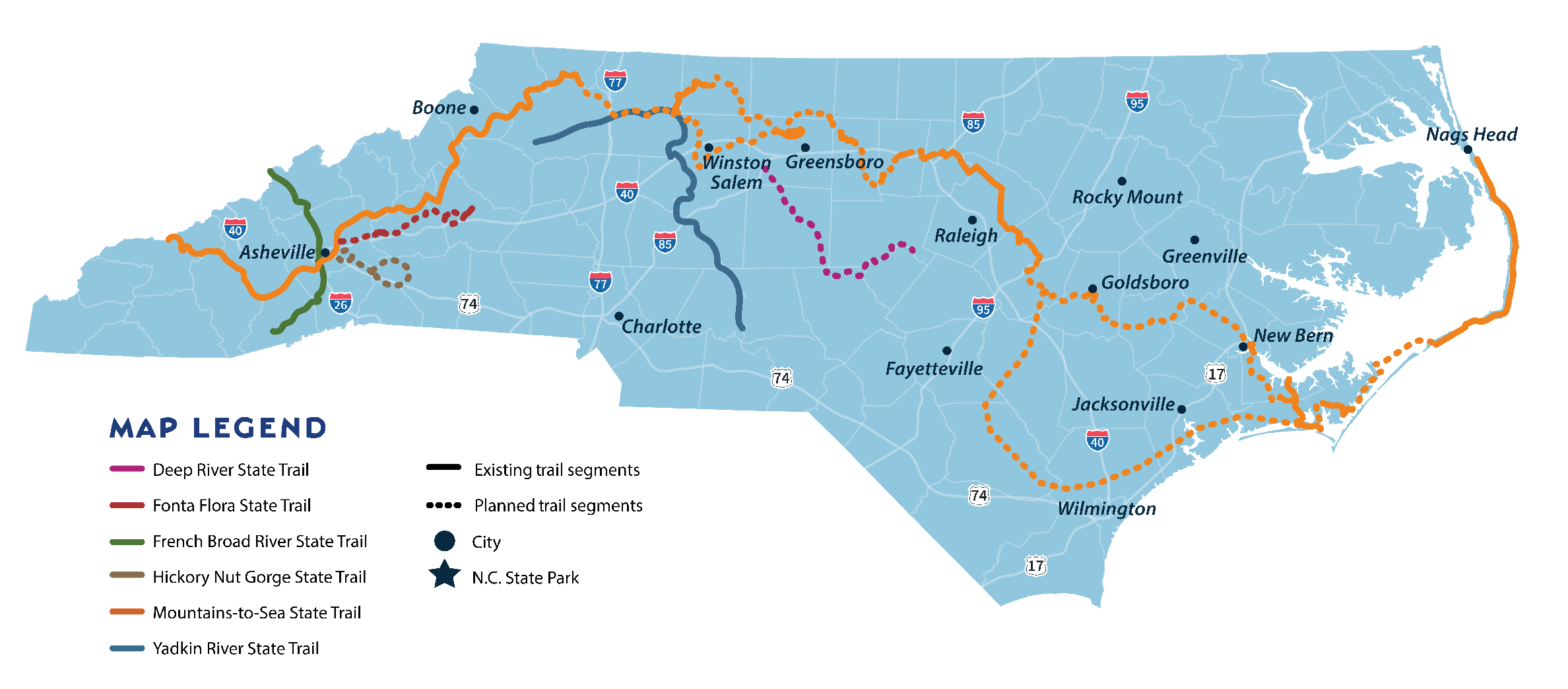 Map of the North Carolina State Trails System