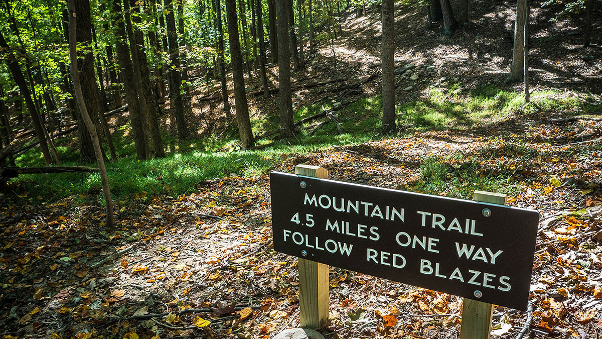 Mountain Trail sign at Pilot Mountain State Park