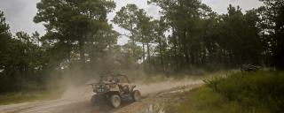 An off-road vehicle drives on a North Carolina trail.