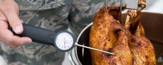 A turkey in a turkey fryer