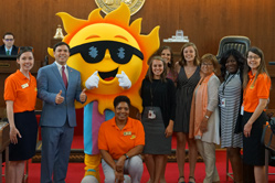 N.C. Summer Nutrition Programs mascot, Ray, and State Superintendent Mark Johnson visits the General Assembly.