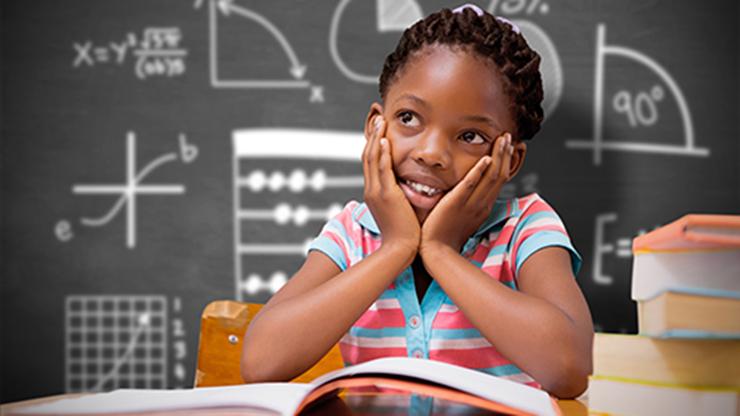 child in math class
