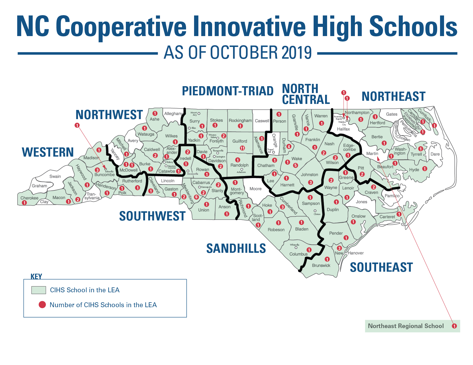NC cooperative innovative high schools map
