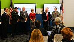 Current and former education leaders announce the FAST NC initiative on Sept. 25 in Raleigh. Left to right: Eric Davis, Henry Johnson, Phil Kirk, June Atkinson, Mike Ward, Mark Johnson.