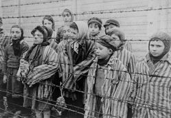 Liberated children in Auschwitz, 1945.