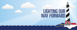 Lighthouse banner with text: Lighting Our Way Forward