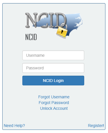 Login page for NCID.