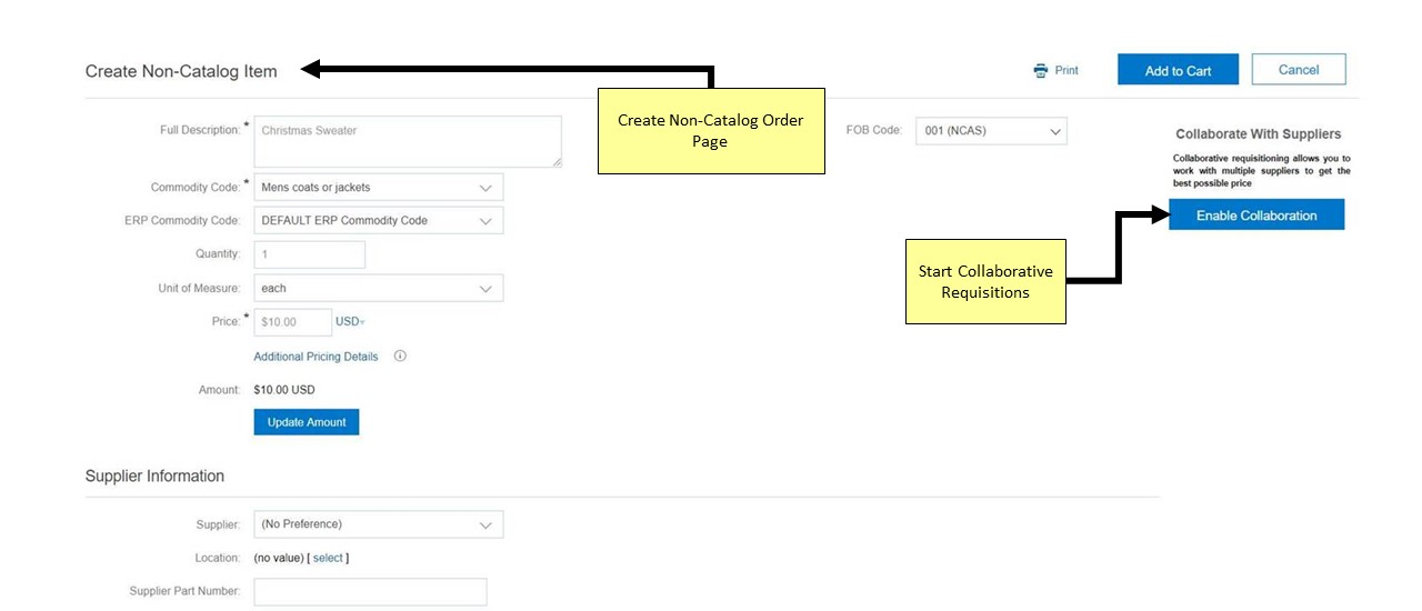 Collaborative Requisition Example