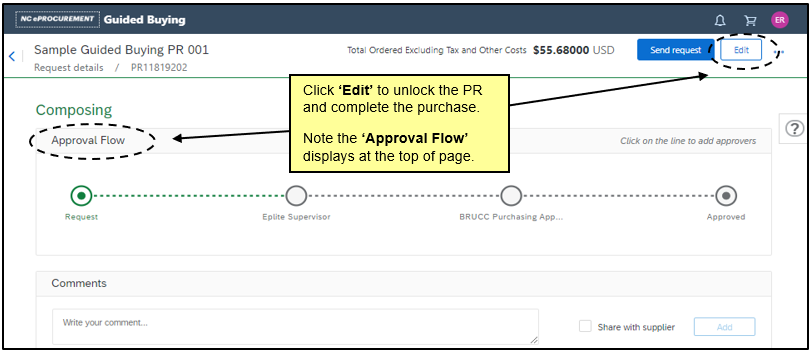 View requisition screen in Guided buying