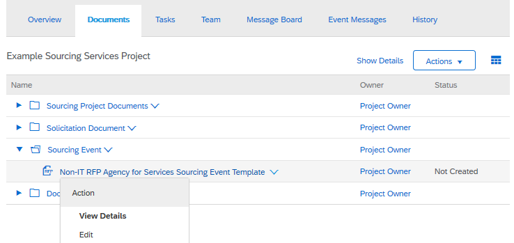 Creating a Sourcing Event