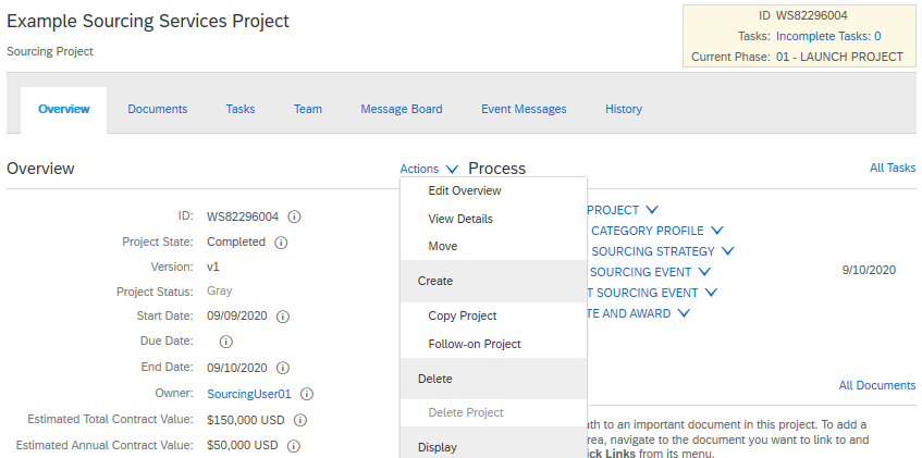 Creating a follow on project from Sourcing