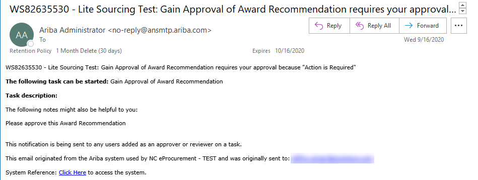 Approval Notifications in Sourcing