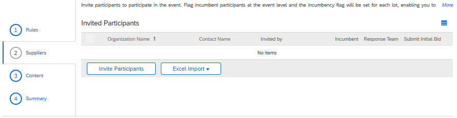 Sourcing Participants in the Supplier Section