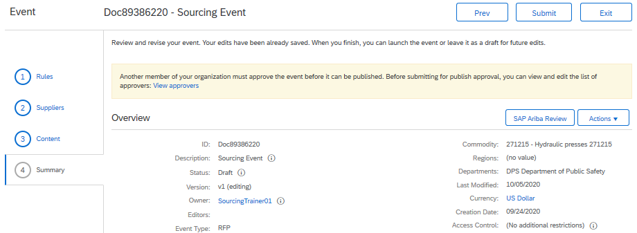 Publishing the Sourcing Event