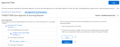 Creating a Sourcing Project from Sourcing Request