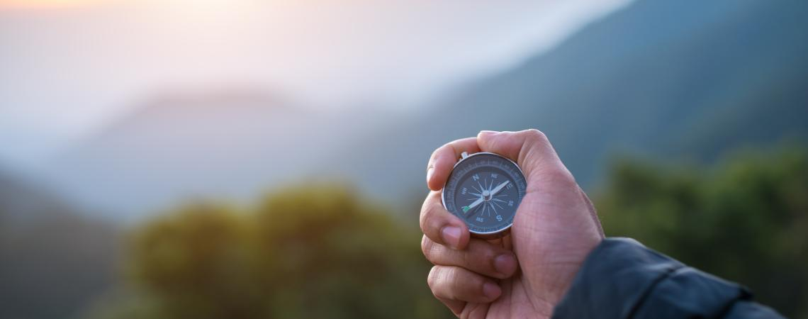 Compass in hand with Mountain View