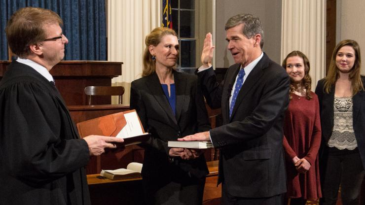 Governor Roy Cooper takes the oath of office