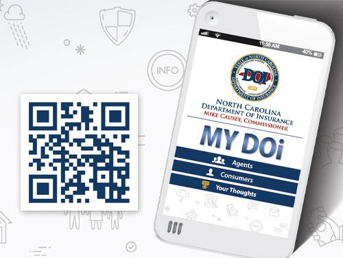 MyDOI App graphic and QR Code for downloading