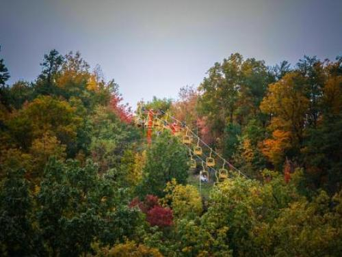 Chair lift amidst tall trees in fall