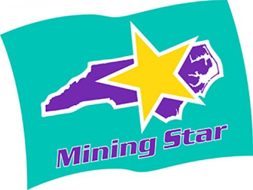 """Mining Star Program Flag - A teal background, purple North Carolina, with a yellow star. purple text reads """"Mining Star"""""""