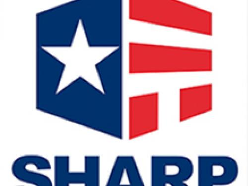 """SHARP logo. A red, white a blue cube with a star and the word """"SHARP"""" in blue below"""