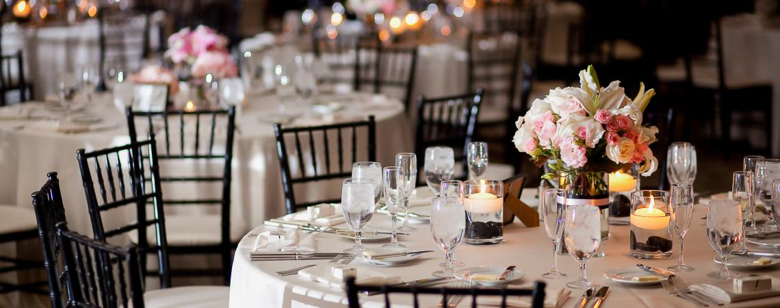 Banquet hall with a set table and flowers