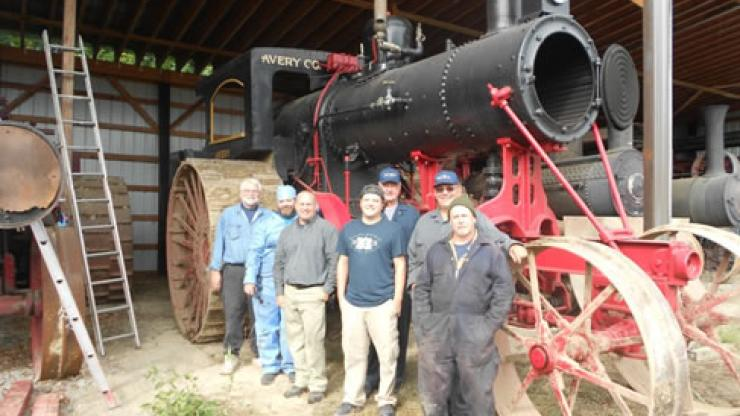 Historical boiler and crew