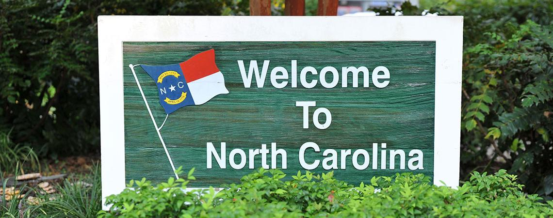 """Welcome to North Carolina"" sign"