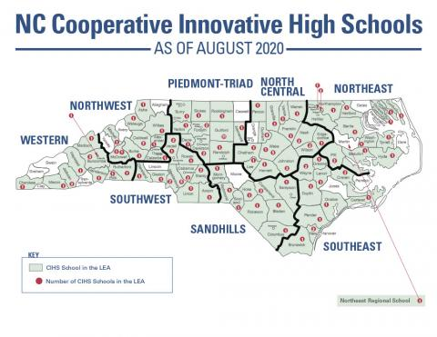 NC Cooperative Innovative High Schools as of August 2020