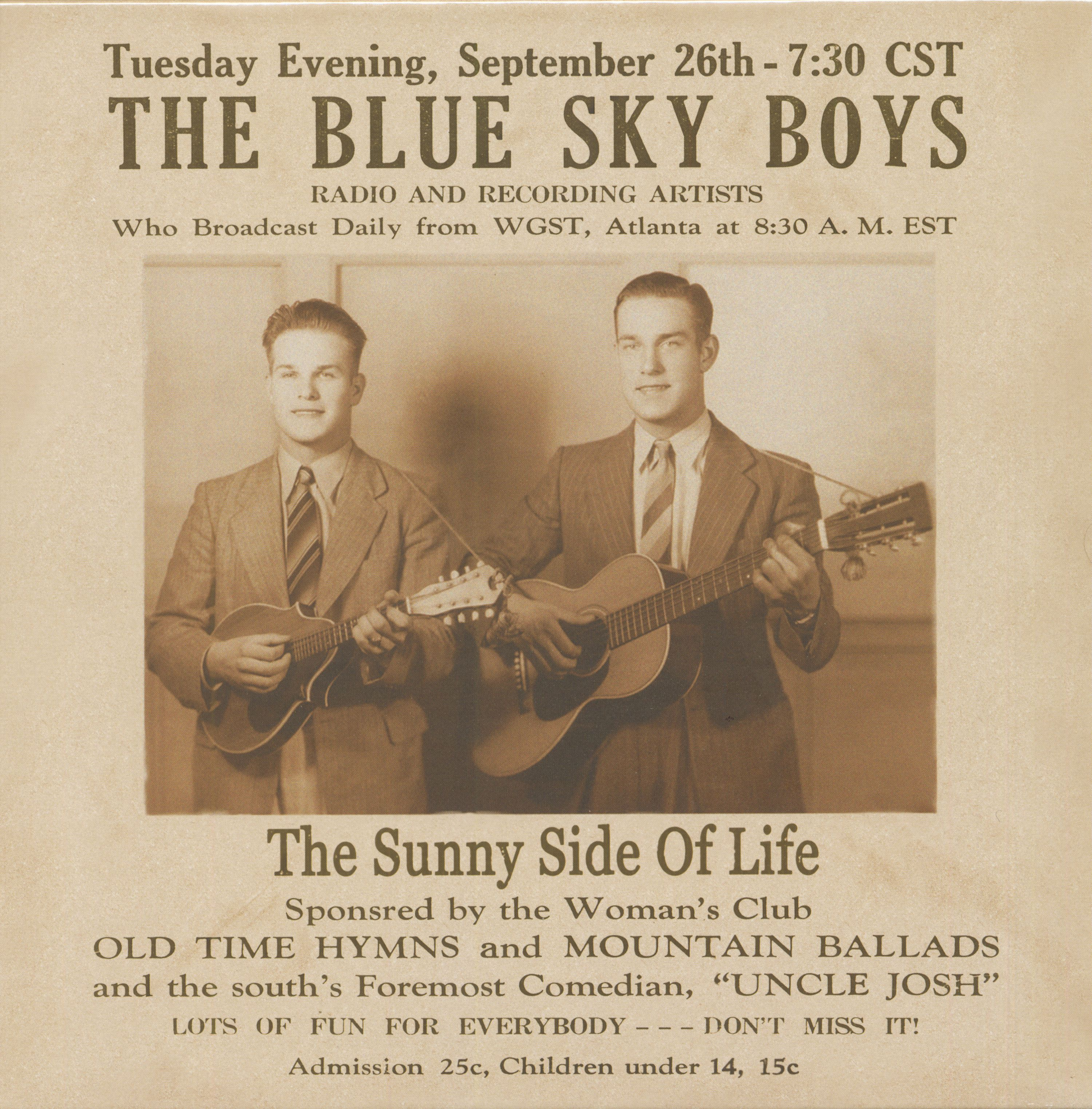 A concert poster for a Blue Sky Boys performance
