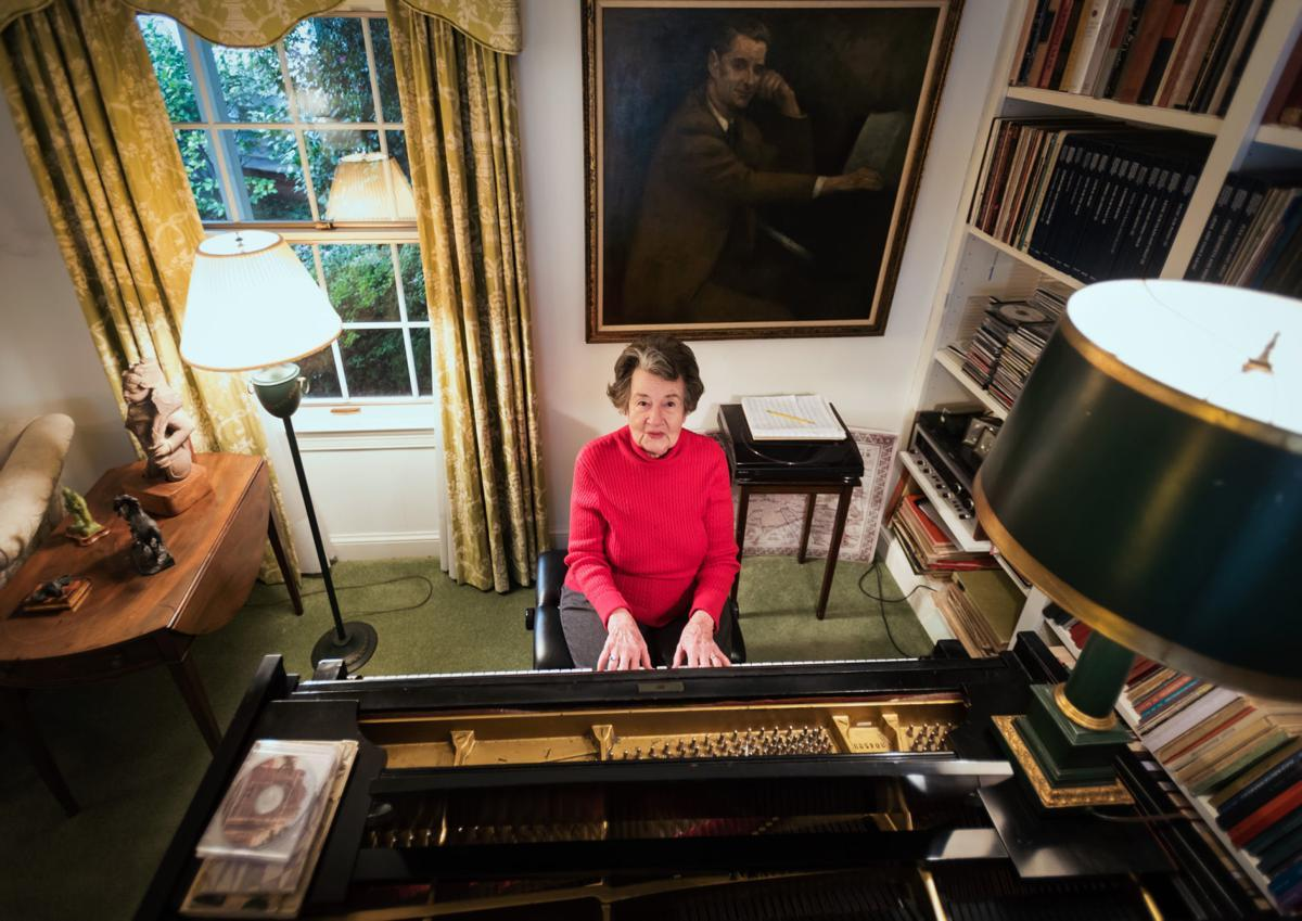 Margaret Vardell Sandresky in front of her piano. Photo Credit: Allison Lee Isley/Winston Salem Journal