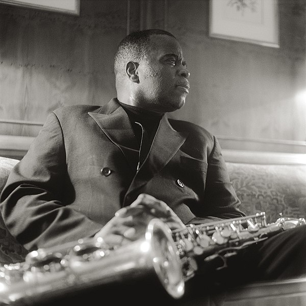 Maceo Parker poses with his saxophone in Hamburg, Germany, 2000