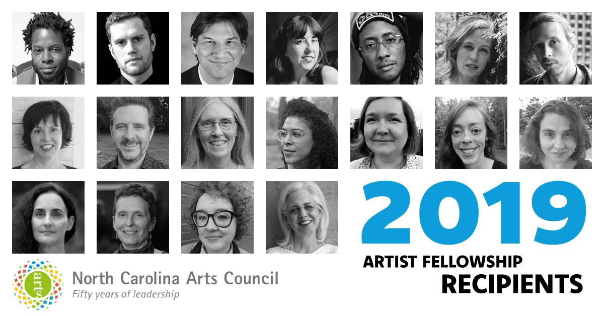 A collection of black and white photos of all the fellowship recipients for 2019.