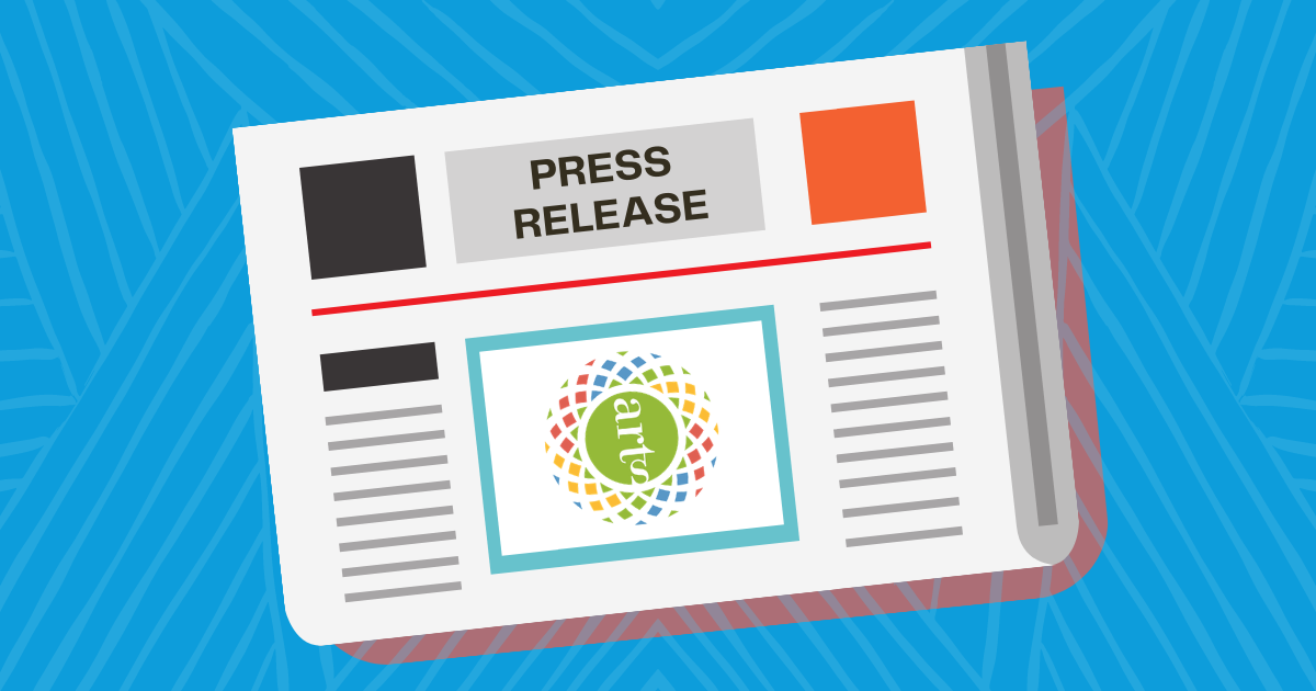 """A graphic of a newspaper that reads """"press release"""" on a colorful background."""