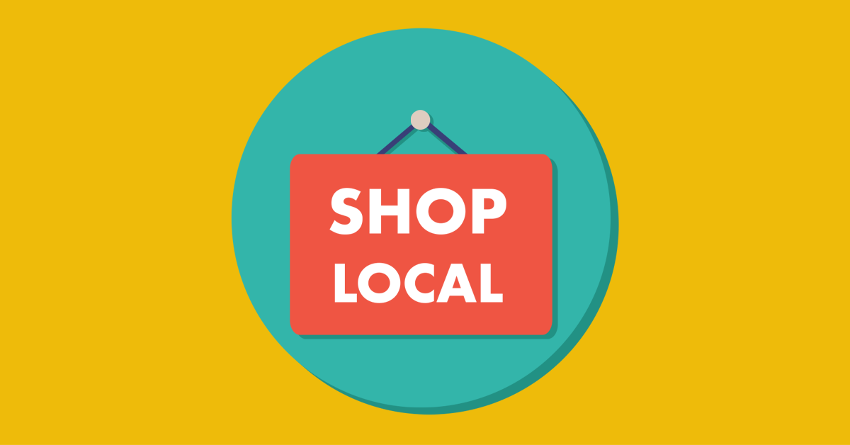 """A graphic of an orange sign that says """"shop local"""" hanging in a blue circle on a yellow background."""