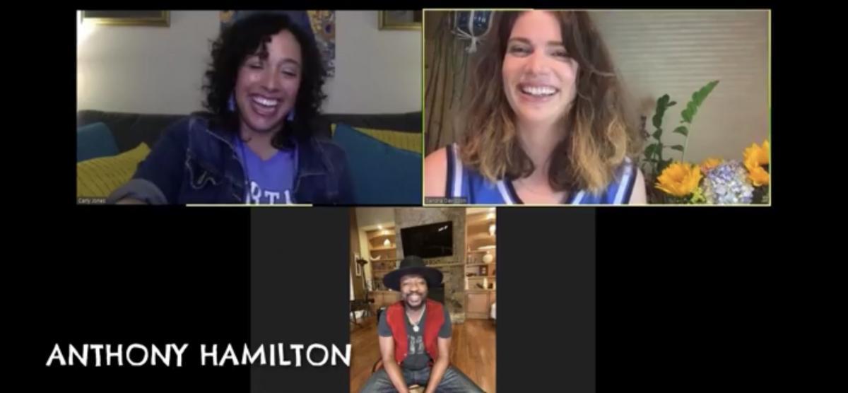 Screenshot of Carly Jones, Sandra Davidson, and Anthony Hamilton smiling and talking.