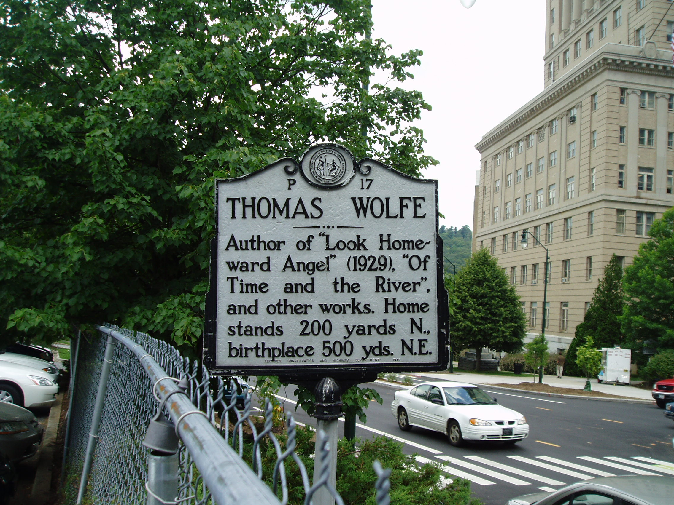 Highway Marker for Thomas Wolfe