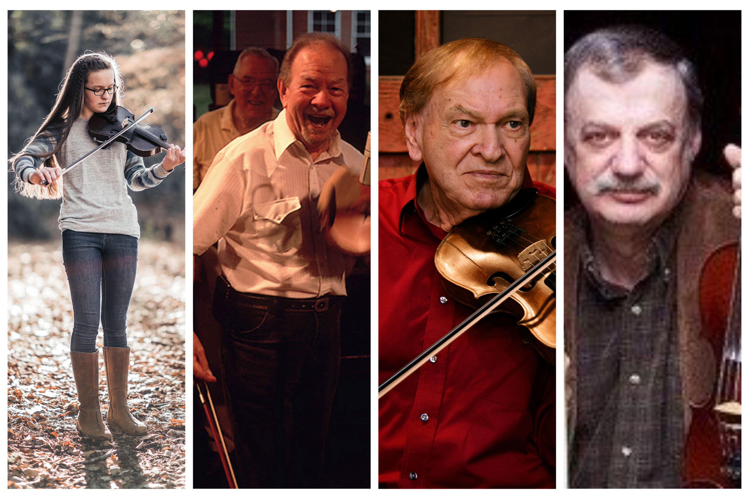 Rhiannon Ramsey, Bobby Hicks, Arvil Freeman, and Roger Howell are several of many exceptional fiddlers from Madison County | Photos Courtesy N.C. Arts Council and Blue Ridge Music Trails of N.C.