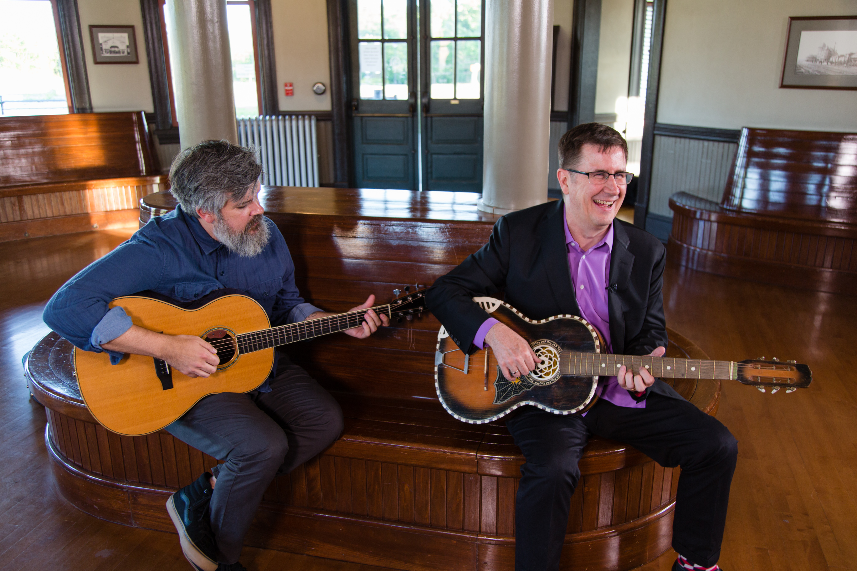 the Mountain Goats, Matt Douglas and John Darnielle, perform at the Hamlet Depot & Museum | Photo by Sandra Davidson