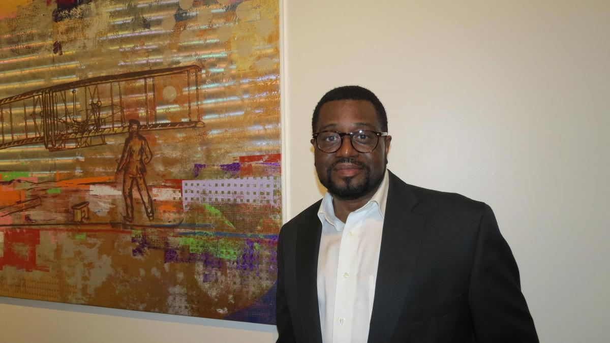 Tre' McGriff, Executive Director of the Charlotte based CineOdyssey Film Festival | Photo Credit: Gwendolyn Glenn, WFAE