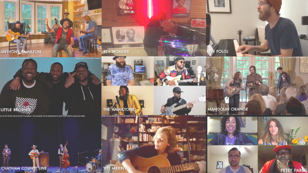 A collage of musicains who participated in the Under One Roof N.C. Artist Benefit Concert