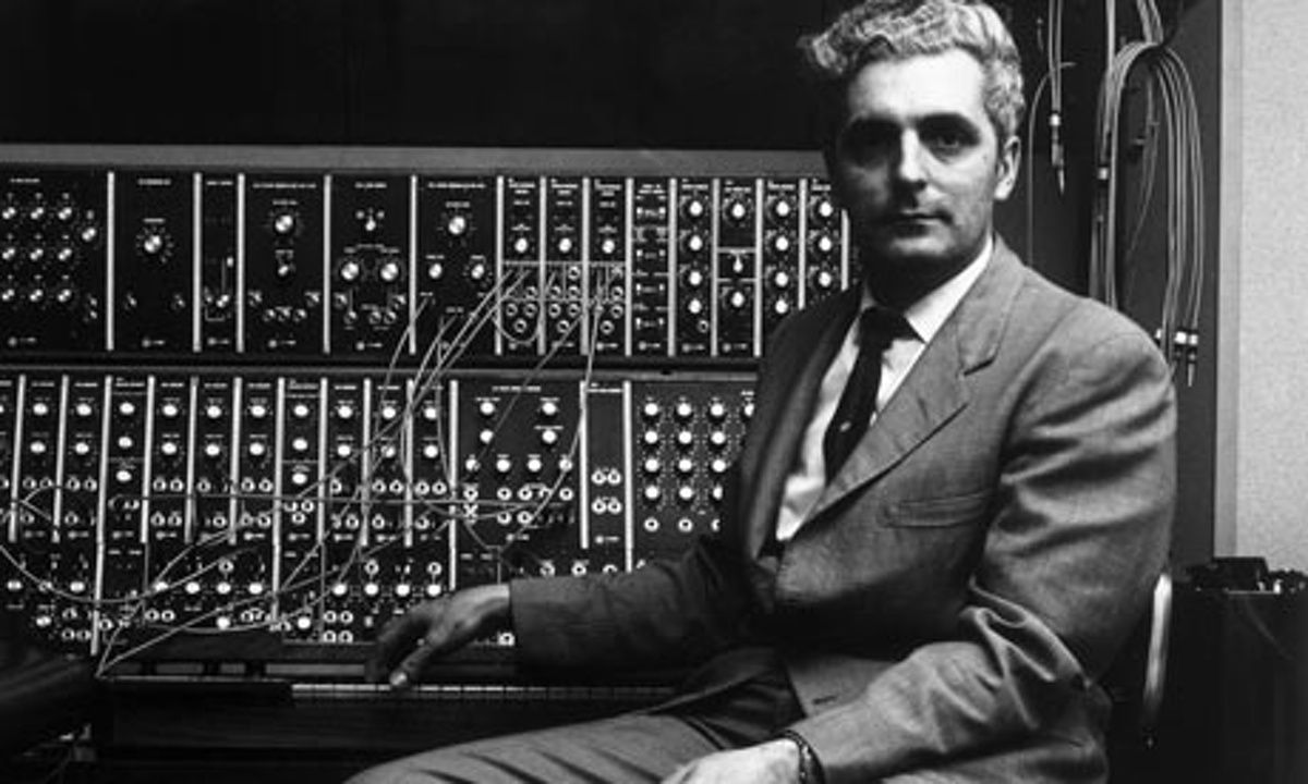 Robert Moog with a Moog synthesizer