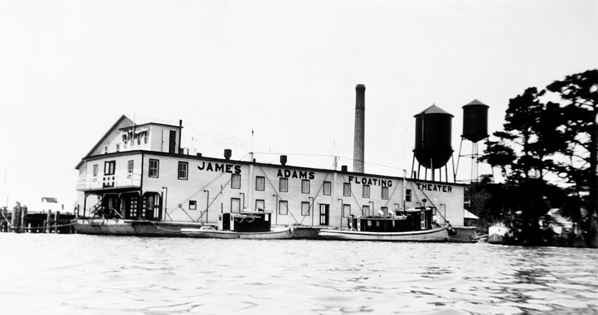 Archival photo of the James Adams Floating Theater