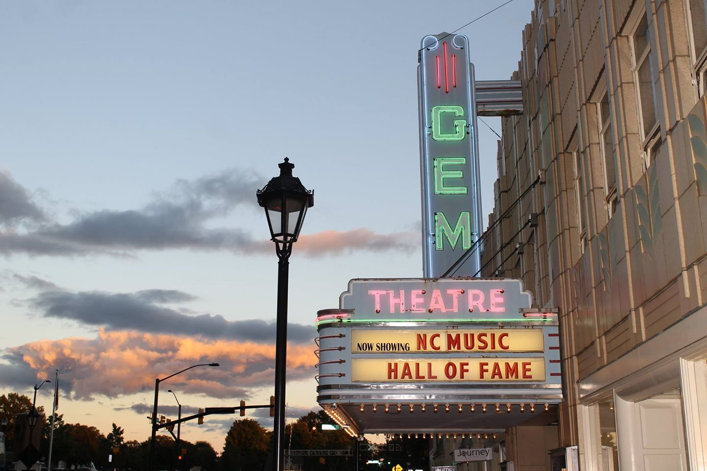 "Gem Theatre marquis displaying ""NC Music Hall of Fame"""