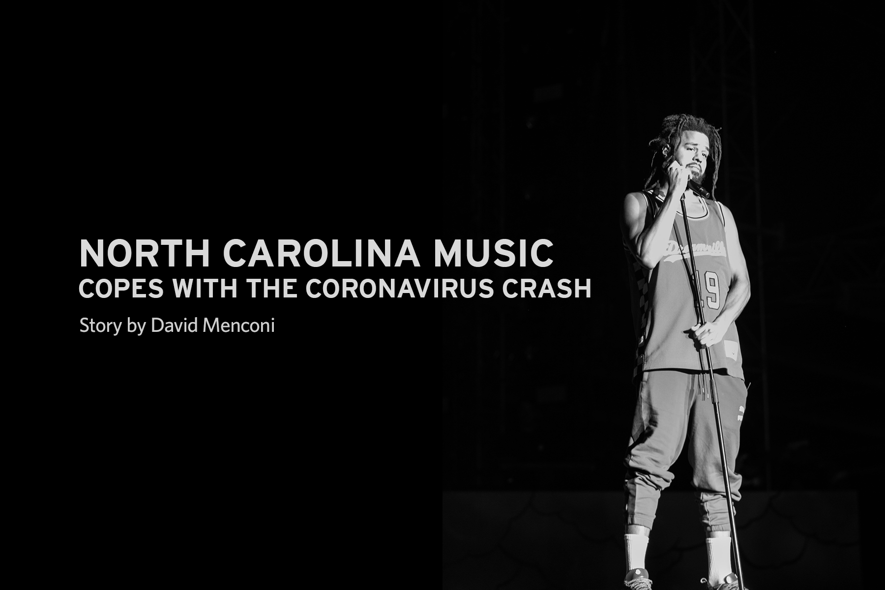 Image of J. Cole with article title: North Carolina Music Copes with the Coronavirus Crash by David Menconi
