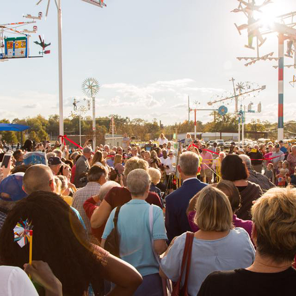 Crowd at Volis Simpson Whirligig park opening