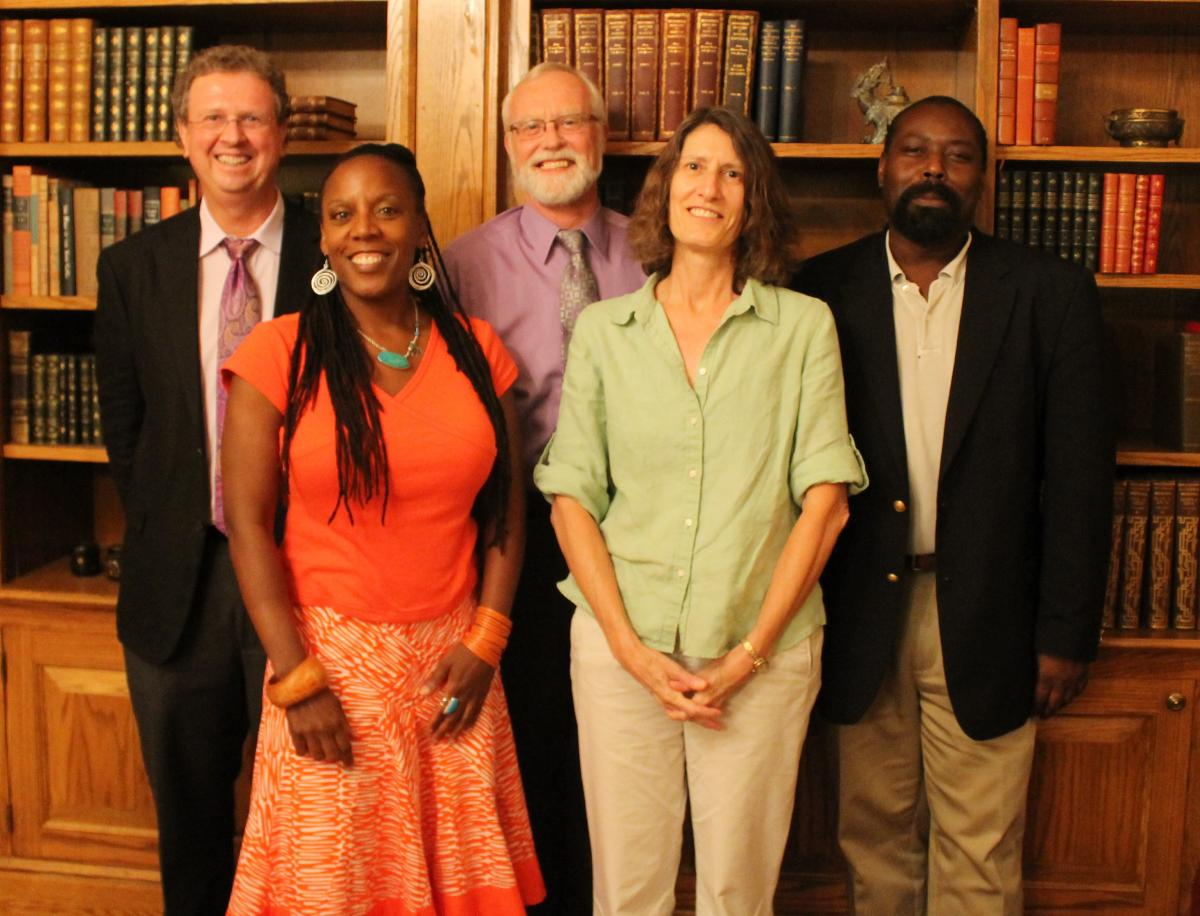 Randall Kenan (right) was among the panelists that recommended potential North Carolina Poet Laureates pictured with Rand Brandes, Glenis Redmond, Steve Sumerford and Barbara Presnell. (Photo courtesy David Potorti, NC Arts Council Literature Director, 2012)